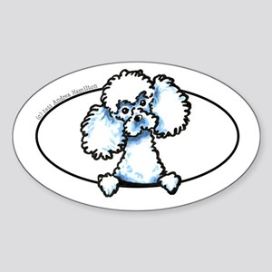 White Poodle Peeking Bumper Sticker (Oval)