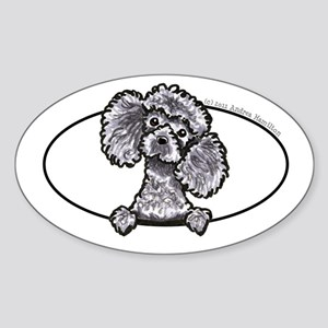 Gray Poodle Head n Paws Sticker (Oval)
