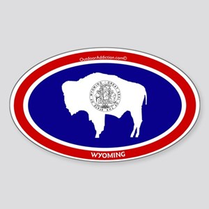 Wyoming State flag oval Sticker (Oval)