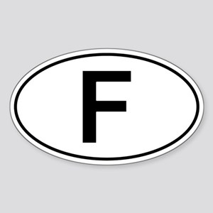 French Oval Car Sticker - F For France