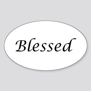 Blessed Calligraphy Style Sticker (Oval)
