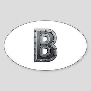 B Metal Oval Sticker