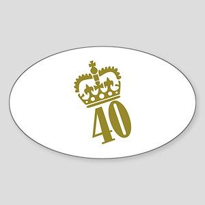 40th Birthday Sticker (Oval)