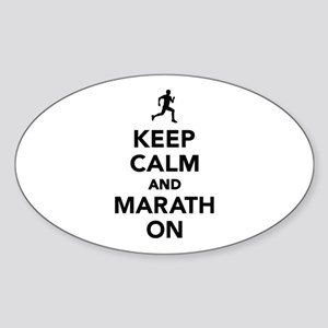 Keep calm and Marathon Sticker (Oval)