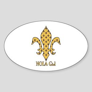 NOLA Girl Fleur de lis (gold) Oval Sticker
