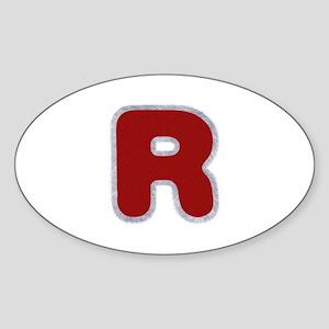 R Santa Fur Oval Sticker