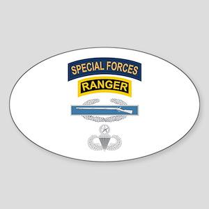 SF Ranger CIB Airborne Master Sticker (Oval)