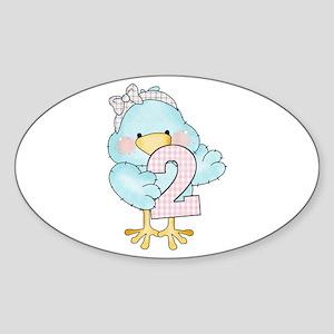 2nd Birthday Bird Sticker (Oval)