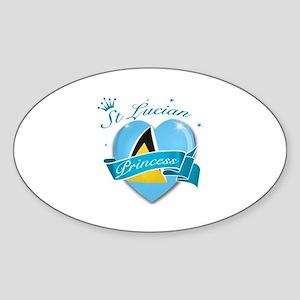 St Lucian Princess Sticker (Oval)