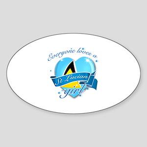 I heart St Lucian Designs Sticker (Oval)