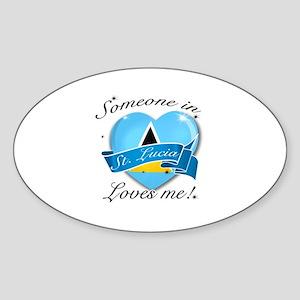 St. Lucia Flag Design Sticker (Oval)
