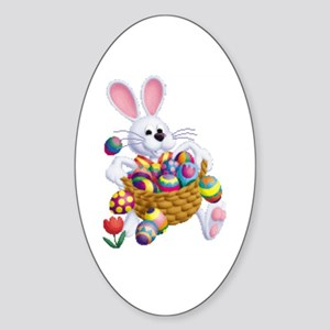 Easter Bunny With Basket Of Eggs Sticker