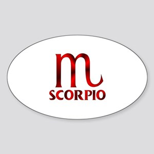 Red Scorpio Symbol Sticker (Oval)