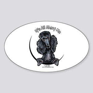 Black Standard Poodle IAAM Sticker (Oval)