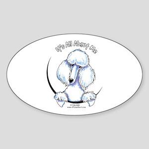 White Standard Poodle IAAM Sticker (Oval)
