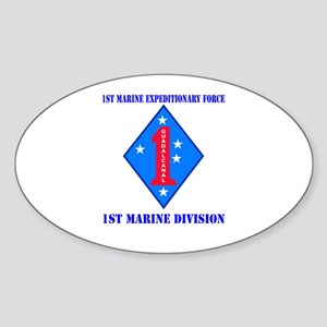 1st Marine Division with Text Sticker (Oval)