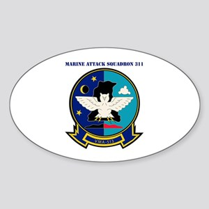 Marine Attack Squadron 513 with Text Sticker (Oval