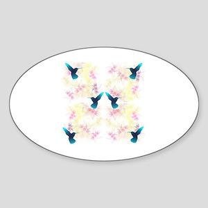 Hummingbird Garden Sticker (Oval)