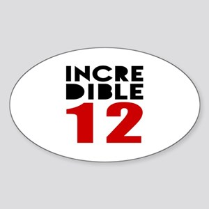 Incredibla 12 Birthday Sticker (Oval)