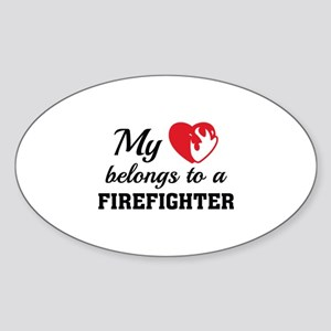 Heart Belongs Firefighter Sticker (Oval)
