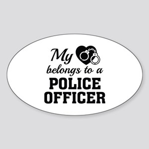 Heart Belongs Police Officer Sticker (Oval)
