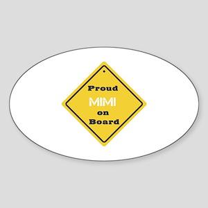 Proud Mimi on Board Oval Sticker