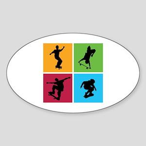 Nice various skating Sticker (Oval)