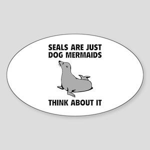 Dog Mermaids Sticker (Oval)