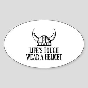 Wear A Helmet Sticker (Oval)