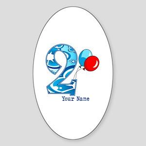 2nd Birthday Personalized Sticker (Oval)