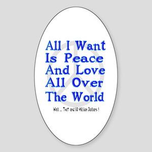 Peace, Love & Money Oval Sticker