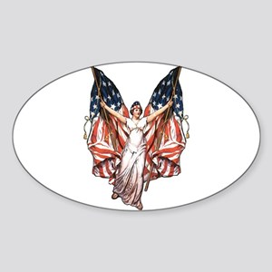 Vintage American Flag Art Oval Sticker