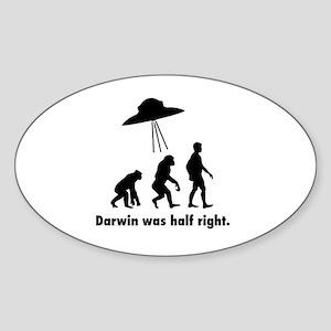 Darwin Was Half Right. Sticker (Oval)