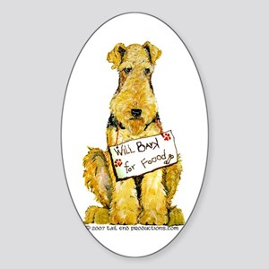 Airedale Terrier Bark for Food Oval Sticker
