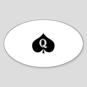 Queen of spades Sticker (Oval)