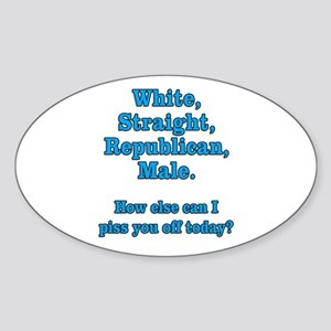 White Straight Republican Male Sticker (Oval)