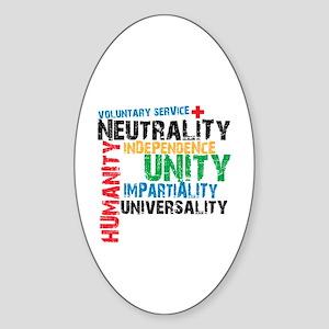Red Cross Oval Sticker