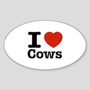 I Love Cows Sticker (Oval)