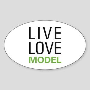 Live Love Model Oval Sticker
