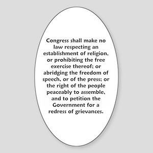 First Amendment Oval Sticker