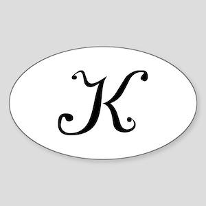 Initial K Oval Sticker