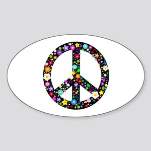 Hippie Flowery Peace Sign Sticker (Oval)