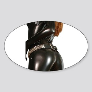 Girl In Black Catsuit Sticker (Oval)