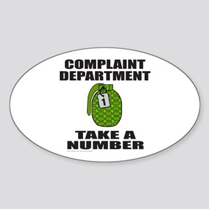 COMPLAINT DEPARTMENT Oval Sticker