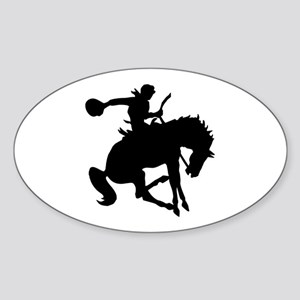 Bucking Bronc Cowboy Oval Sticker