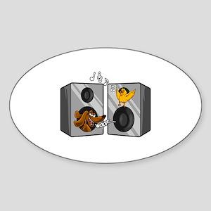 Dog and Songbird Rock and Roll Music Speak Sticker