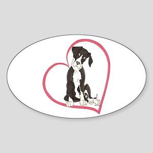 NMtl Heart Pup Oval Sticker