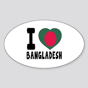 I Love Bangladesh Sticker (Oval)