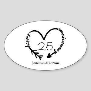 Custom Anniversary Doodle Heart Sticker (Oval)