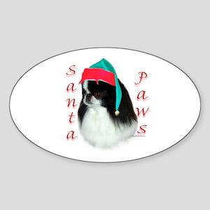 Santa Paws Japanese Chin Oval Sticker
